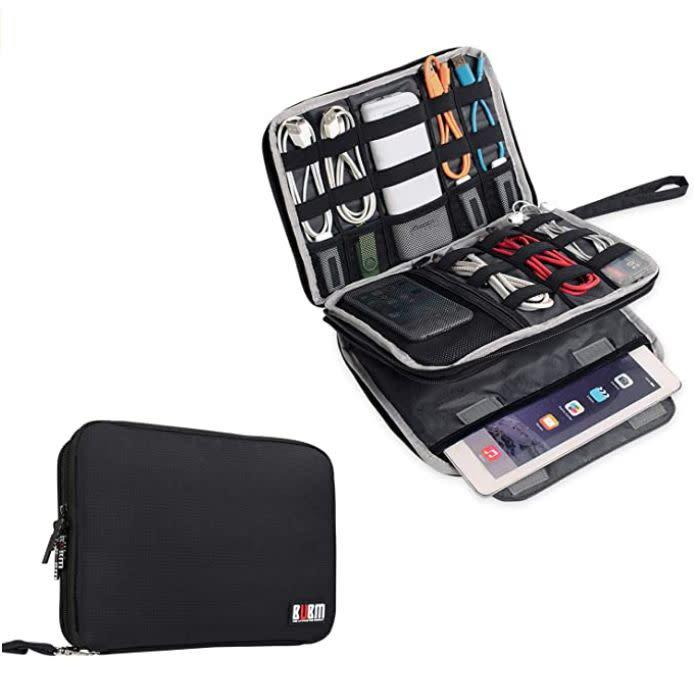 "Find this BUBM Double Layer Electronics Organizer/Travel Gadget Bag for $17 on <a href=""https://amzn.to/2CQ3hz1"" rel=""nofollow noopener"" target=""_blank"" data-ylk=""slk:Amazon"" class=""link rapid-noclick-resp"">Amazon</a>."