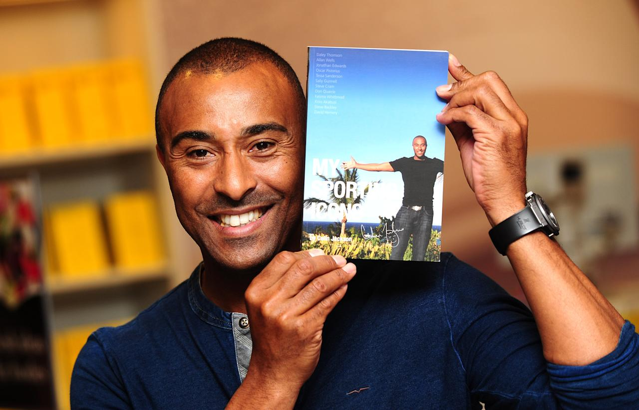 Colin Jackson signs copies of his new book 'My Sporting Icons' at Selfridges in London.