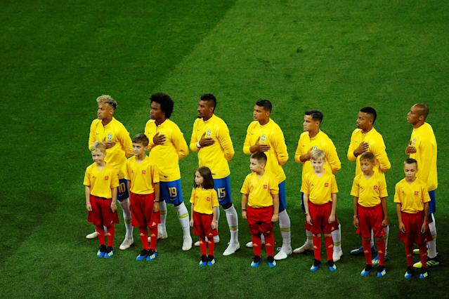 Soccer Football - World Cup - Group E - Brazil vs Switzerland - Rostov Arena, Rostov-on-Don, Russia - June 17, 2018 Team Brazil line up before the match REUTERS/Jason Cairnduff