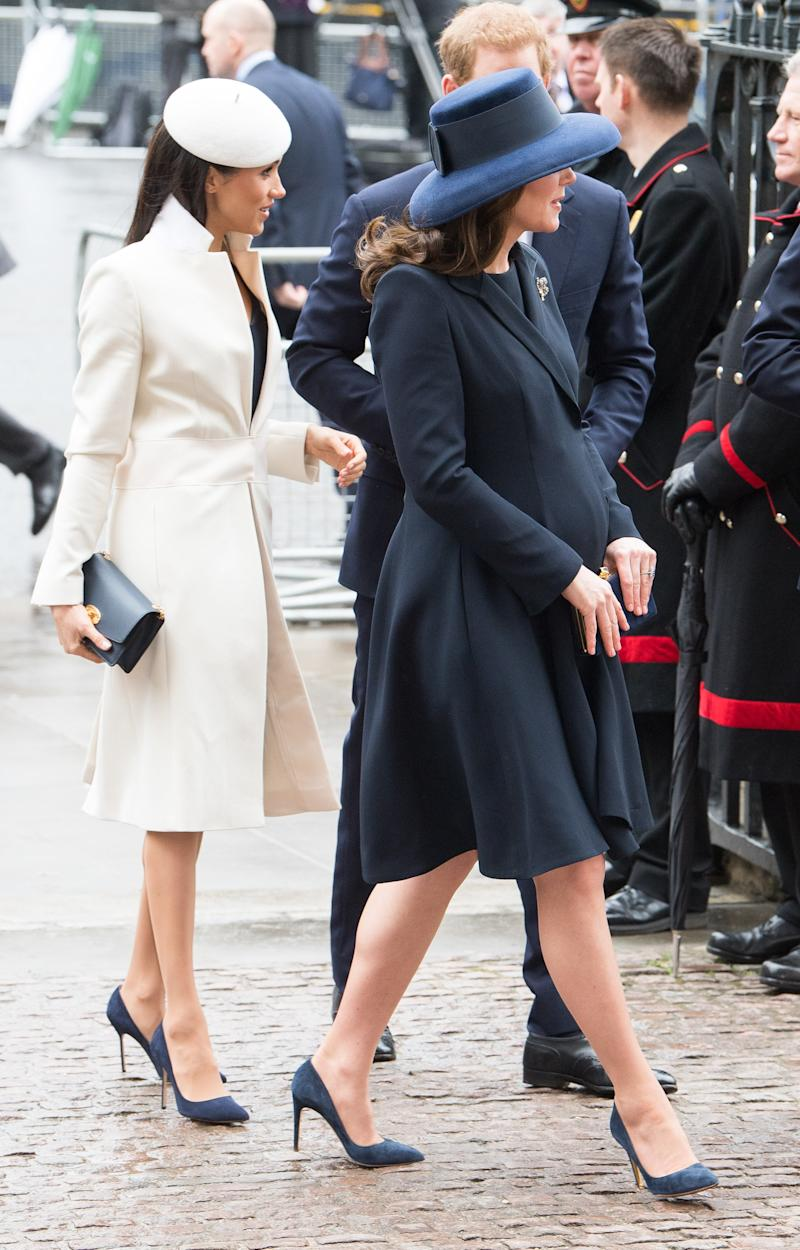 Meghan Markle and Kate Middleton entering the Commonwealth Day service.