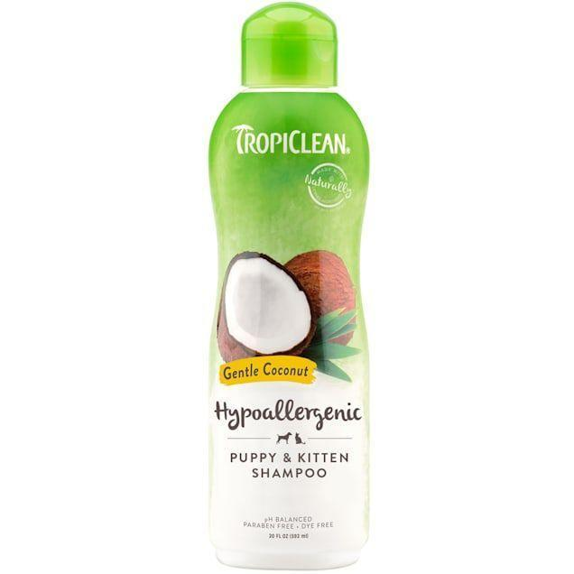 """<p><strong>TropiClean </strong></p><p>amazon.com</p><p><strong>$10.99</strong></p><p><a href=""""https://www.amazon.com/dp/B001VIWHD8?tag=syn-yahoo-20&ascsubtag=%5Bartid%7C2164.g.36563635%5Bsrc%7Cyahoo-us"""" rel=""""nofollow noopener"""" target=""""_blank"""" data-ylk=""""slk:Shop Now"""" class=""""link rapid-noclick-resp"""">Shop Now</a></p><p>Over 11,000 Amazon shoppers swear by this hypoallergenic puppy shampoo. It's designed specifically with puppies and kittens in mind, so it's extra gentle—even with light added fragrance. (I can personally attest to the effectiveness and gentleness of this one, as I've bathed my 5-month old puppy, Cash, with it. The coconut scent is perfect for summer.)</p>"""
