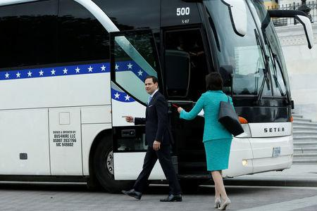 U.S. Senator Marco Rubio (R-FL) boards a Senate caravan bus from Capitol Hill to attend a North Korea briefing at the White House, in Washington, U.S., April 26, 2017. REUTERS/Yuri Gripas
