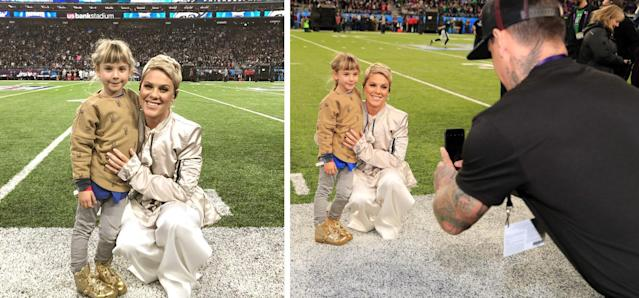 P!nk and her daughter, Willow, at the Super Bowl. (Photo: Getty Images)