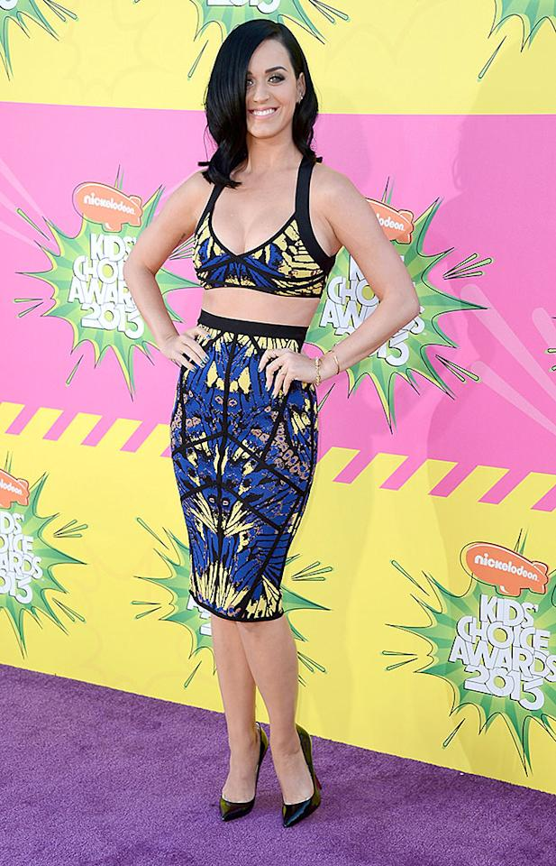 LOS ANGELES, CA - MARCH 23:  Singer Katy Perry arrives at Nickelodeon's 26th Annual Kids' Choice Awards at USC Galen Center on March 23, 2013 in Los Angeles, California.  (Photo by Frazer Harrison/Getty Images)