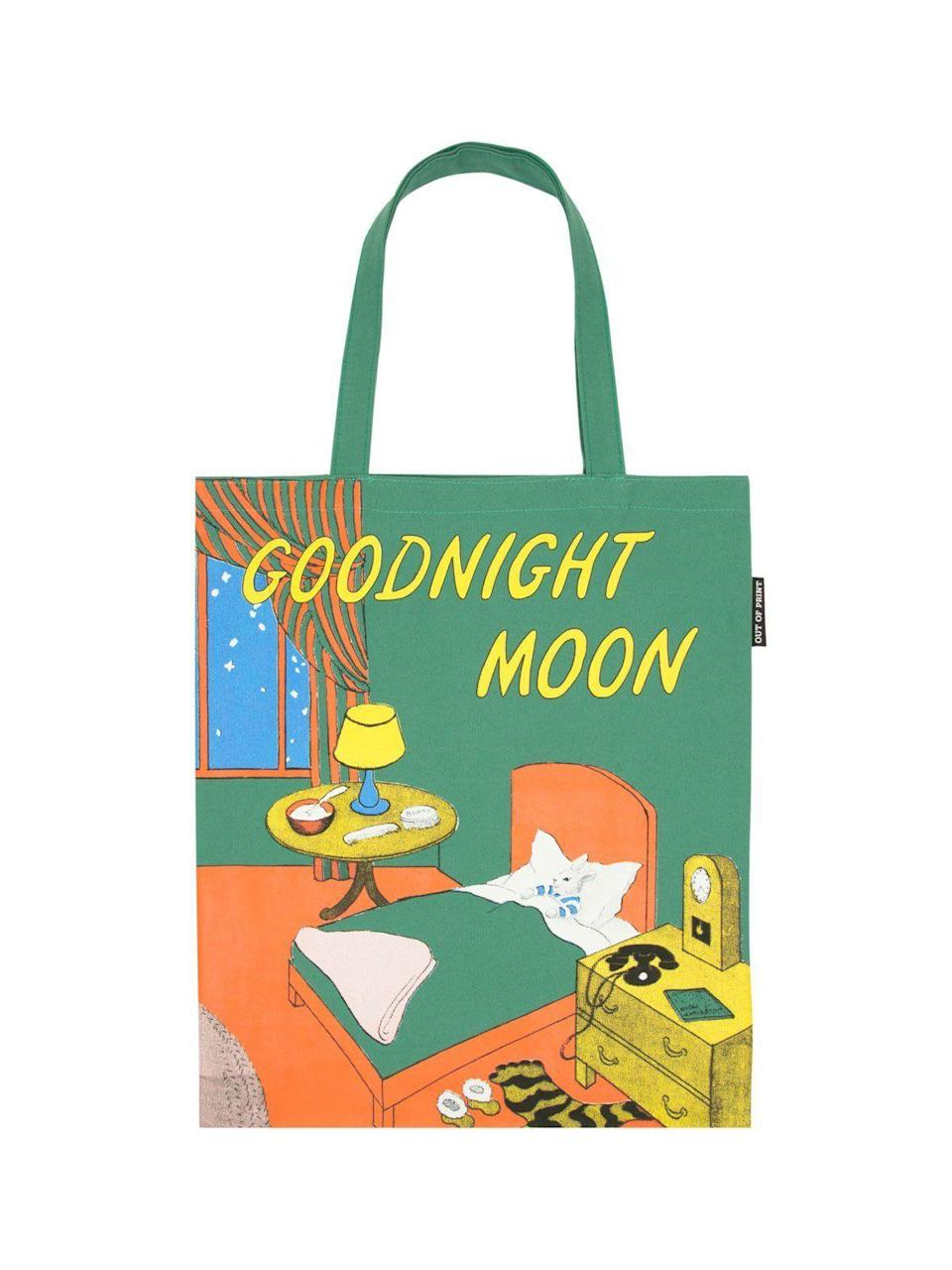 "<p><strong>Out of Print</strong></p><p>outofprint.com</p><p><strong>$20.00</strong></p><p><a href=""https://outofprint.com/collections/totes/products/goodnight-moon-tote"" rel=""nofollow noopener"" target=""_blank"" data-ylk=""slk:Shop Now"" class=""link rapid-noclick-resp"">Shop Now</a></p><p>We all have memories of reading our favorite books over and over again as a child. Broadcast your favorite with this fun tote bag.</p>"