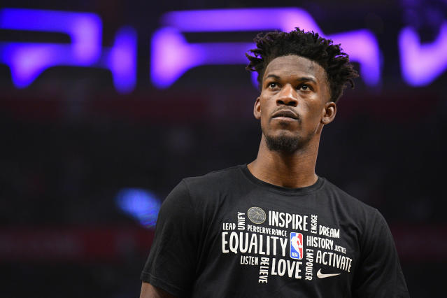 Jimmy Butler discovered a flaw in the NBA's jersey plan for the restart of the 2020 season. (Brian Rothmuller/Icon Sportswire via Getty Images)