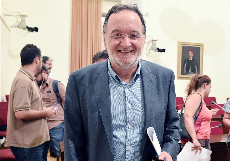 """Former Syriza minister Panagiotis Lafazanis has taken over many of Syriza's old slogans against austerity and domination by """"dictator"""" EU-IMF creditors (AFP Photo/Louisa Gouliamaki)"""