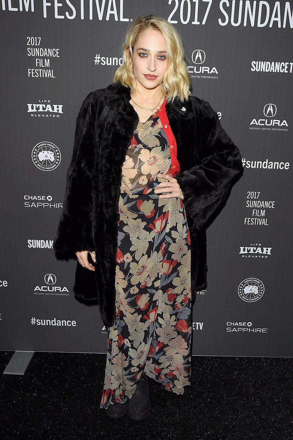 <p>The 'Girls' star brings a punch of color to the carpet for 'The Little Hours' premiere. (Photo: George Pimentel/Getty Images) </p>