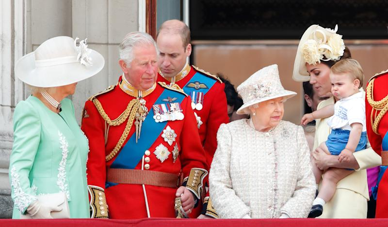 LONDON, UNITED KINGDOM - JUNE 08: (EMBARGOED FOR PUBLICATION IN UK NEWSPAPERS UNTIL 24 HOURS AFTER CREATE DATE AND TIME) Camilla, Duchess of Cornwall, Prince Charles, Prince of Wales, Prince William, Duke of Cambridge, Queen Elizabeth II, Catherine, Duchess of Cambridge and Prince Louis of Cambridge watch a flypast from the balcony of Buckingham Palace during Trooping The Colour, the Queen's annual birthday parade, on June 8, 2019 in London, England. The annual ceremony involving over 1400 guardsmen and cavalry, is believed to have first been performed during the reign of King Charles II. The parade marks the official birthday of the Sovereign, although the Queen's actual birthday is on April 21st. (Photo by Max Mumby/Indigo/Getty Images)