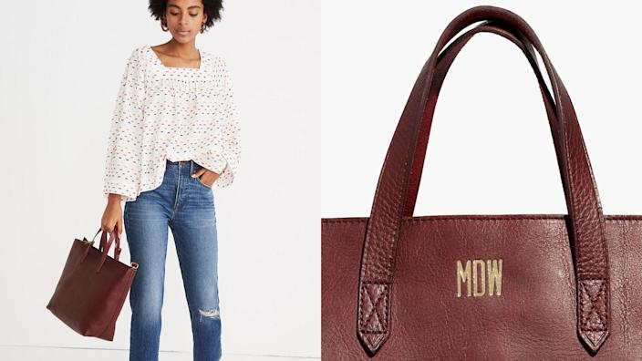 Best personalized gifts 2020: Madewell Zip-Top Transport Tote