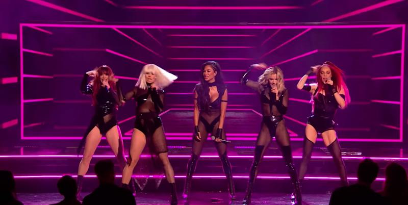The Pussycat Dolls perform on stage at the X Factor