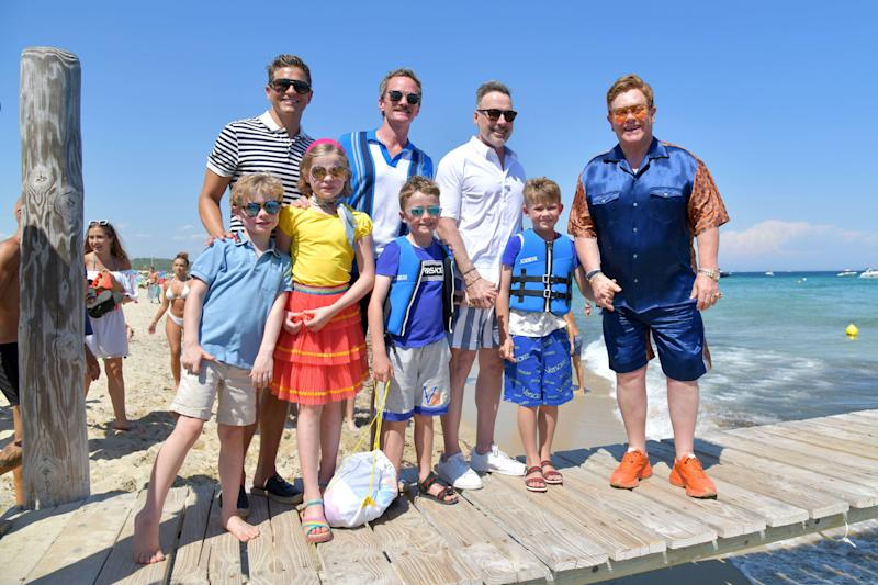 Elton John, David Furnish and kids Harper and Gideon, Neil Patrick Harris and David Burtka and children Zachary and Elijah on the Jetty of Saint-Tropez harbour. Photo: Mega