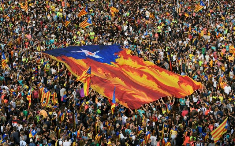 More than half a million people rallied in Barcelona on Friday in the biggest protest since the sentence (AFP Photo/LLUIS GENE)