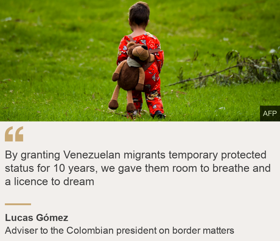 """""""By granting Venezuelan migrants temporary protected status for 10 years, we gave them room to breathe and a licence to dream"""", Source: Lucas Gómez, Source description: Adviser to the Colombian president on border matters, Image: A Venezuelan migrant toddler walks inside a humanitarian camp in Bogota on November 13, 2018."""