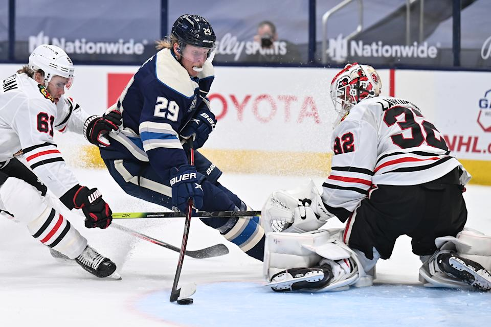 Patrik Laine absolutely undressed Blackhawks goaltender Kevin Lankinen to finish off a ridiculous solo effort. (Getty)