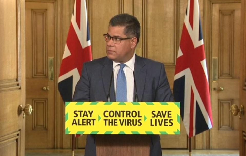 Screen grab of Business, Energy and Industrial Strategy Secretary Alok Sharma during a media briefing in Downing Street, London, on coronavirus (COVID-19).