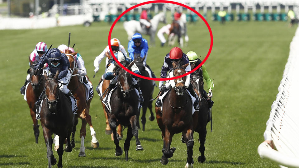 Anthony Van Dyck, pictured here pulling up lame in the Melbourne Cup.