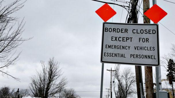 PHOTO: A sign in Derby Line, Vermont warning drivers that the international border with Canada is closed to non-essential travelers (Janet Weinstein/ABC News)