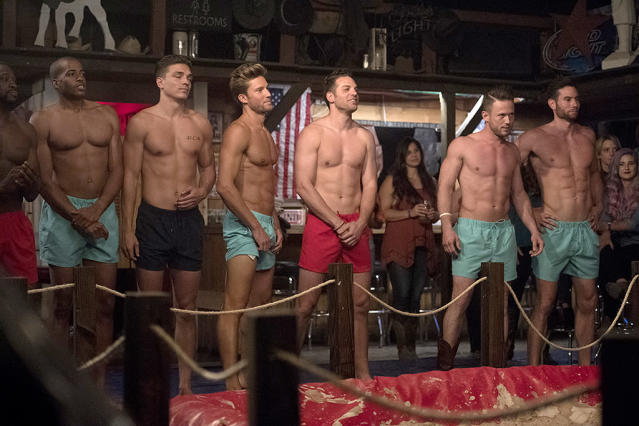 <p>Kenny, Eric, Dean, Brady, Adam, Lee, and Bryce in ABC's <i>The Bachelorette</i>. (Photo: Matt Brown/ABC) </p>