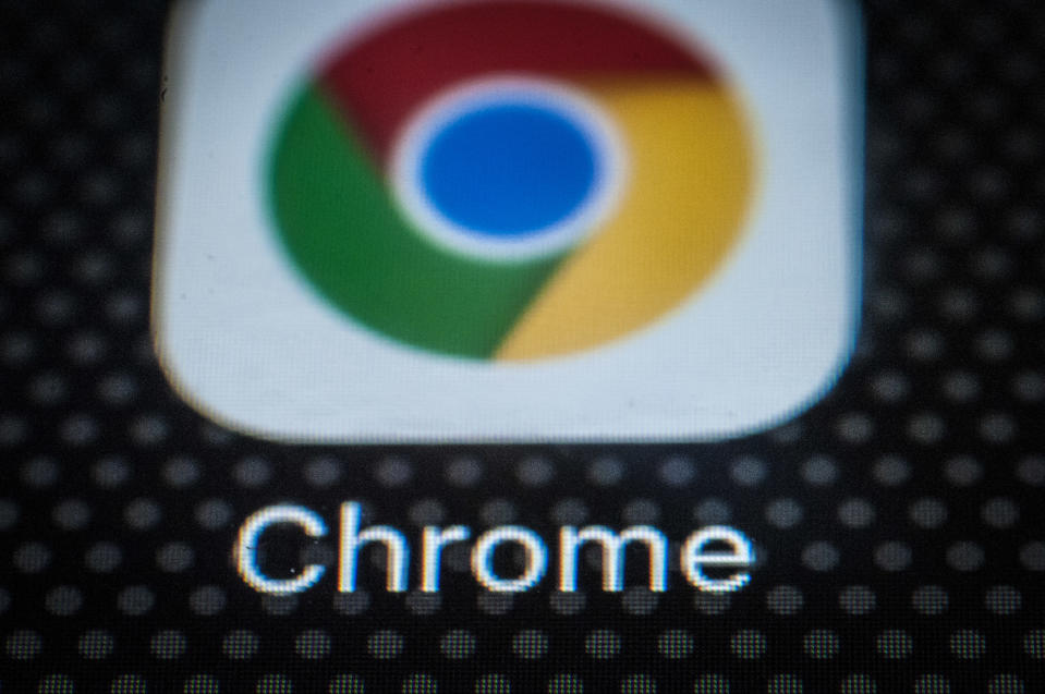 The Chrome browser app for mobile devices is seen on the screen of a portable device on December 6, 2017. (Photo by Jaap Arriens/NurPhoto via Getty Images)