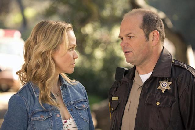 Witchy woman Holly Cleary (Lauren Bowles) and sheriff Andy Bellefleur (Chris Bauer) are still trying to work out the logistics of their relationship. Bellefleur led the manhunt for a group of men who committed hate crimes against vampires in Season 5.