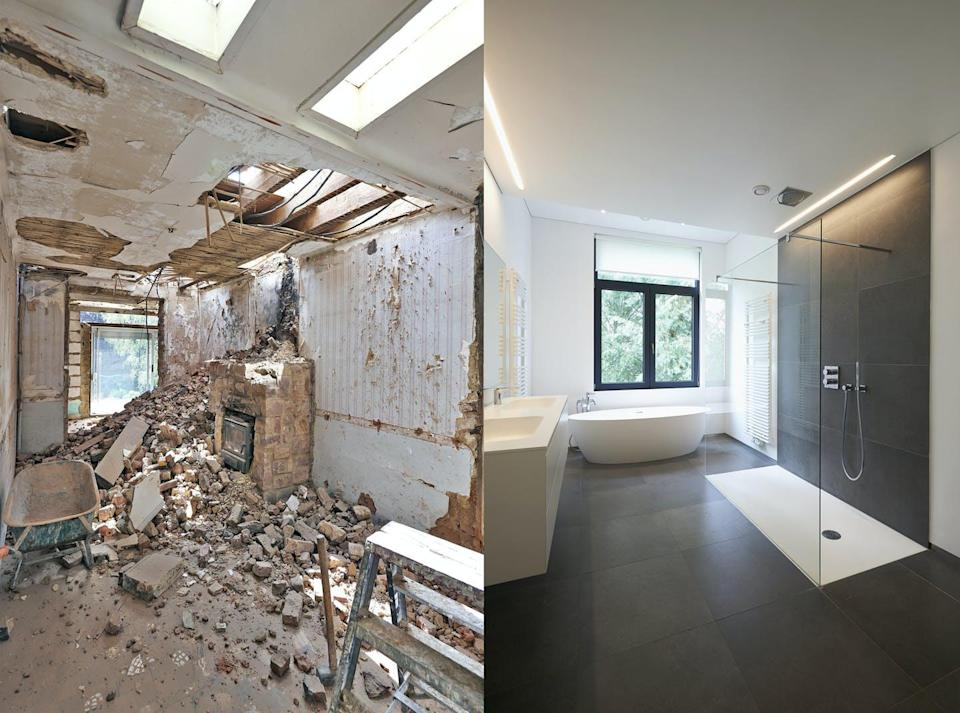 Before and after of a home renovation.