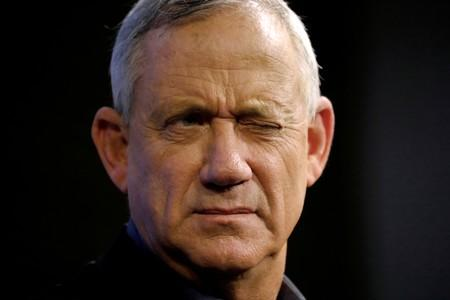 FILE PHOTO: Benny Gantz, leader of Blue and White party, speaks at an election campaign event in Ashkelon, Israel