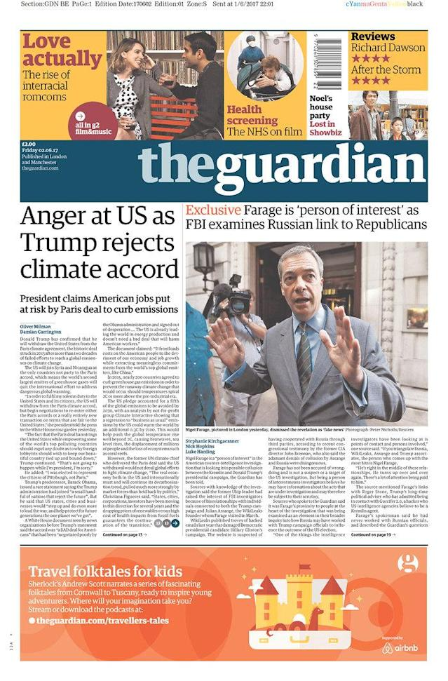 "<p>""The Guardian,"" published in London, U.K. (Newseum) </p>"