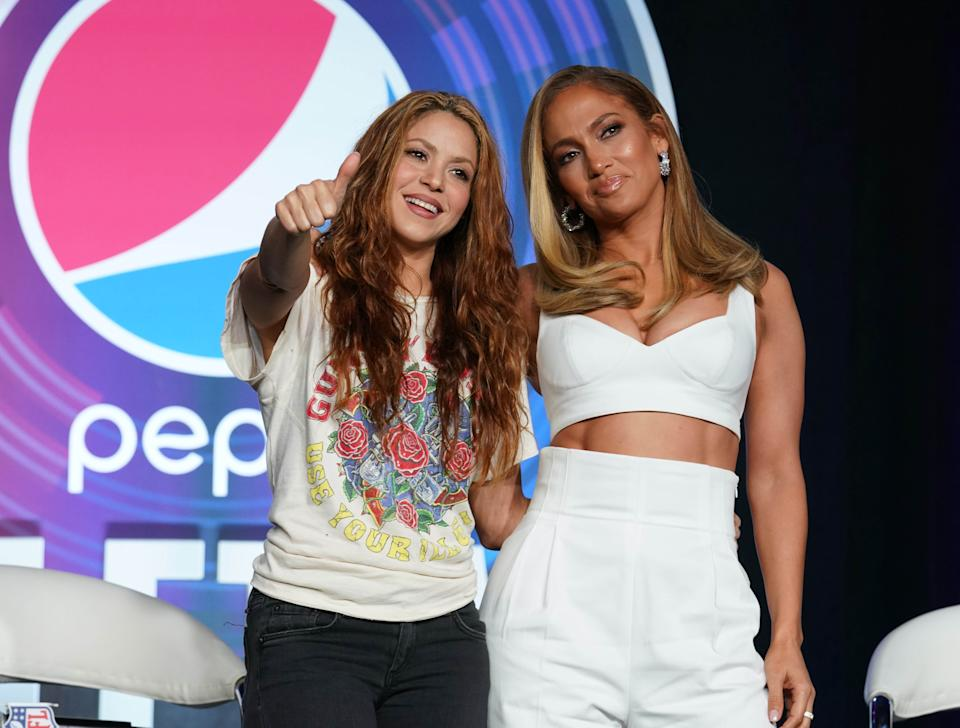Jan 30, 2020; Miami, Florida, USA;  Recording artists Shakira (left) and Jennifer Lopez (right) during the Super Bowl LIV halftime talent show press conference at Hilton Downtown. Mandatory Credit: Kirby Lee-USA TODAY Sports