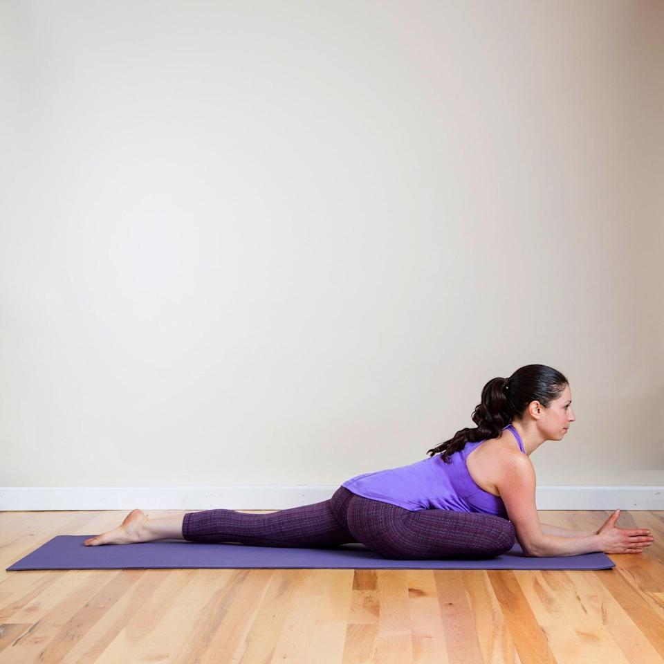 """<p>""""This pose gives your hips an opportunity to really open up and sink into the floor,"""" Armstrong said of Pigeon Pose. Madeline Sperber, RYT 200, yoga instructor and fitness director at the <a href=""""https://www.seagategolf.com/tennis-fitness/fitness/"""" class=""""link rapid-noclick-resp"""" rel=""""nofollow noopener"""" target=""""_blank"""" data-ylk=""""slk:Seagate Fitness Club"""">Seagate Fitness Club</a>, added that this pose is beneficial for stress release because it calms your nervous system """"while also working to loosen the low back, hips, and glutes.""""</p> <ul> <li>Sit with your right knee bent and your left leg extended behind you. Pull the right heel in toward your left hip, or if your hips are more open, inch your right foot away from you. Make sure your left hip is always pointing down toward the mat. If it begins to open up toward the ceiling, draw your right foot back in toward your body.</li> <li>Stay here with your hands resting on your right thigh or your hips, or walk your hands out in front of you, allowing your torso to rest over your right knee.</li> <li>Hold here, breathing into any areas of tightness and tension for at least one minute and as long as five minutes.</li> <li>Repeat this pose with your left knee bent.</li> </ul>"""