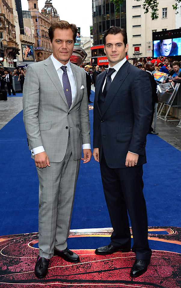 Michael Shannon and Henry Cavill arrive at the European Premiere of 'Man Of Steel' in London on Wednesday, June 12, 2013. (Photo by Jon Furniss/Invision/AP)