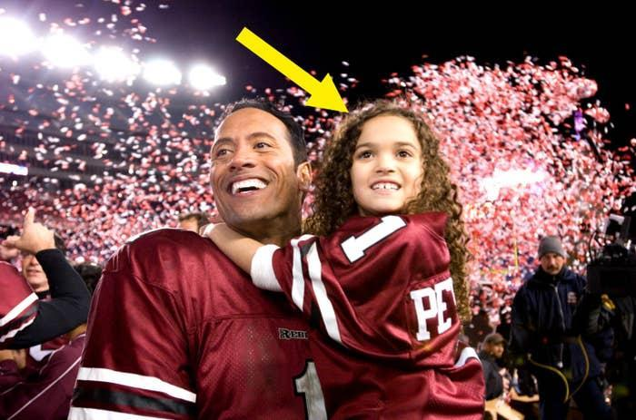 The Rock and young Madison in the game plan final scene