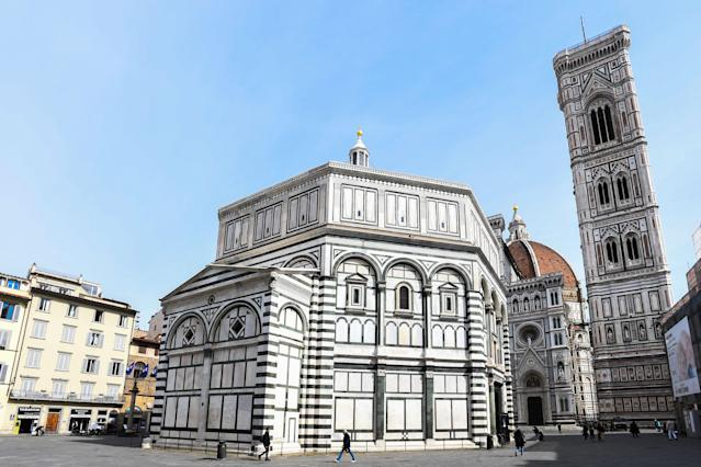 A general view taken on March 10, 2020 shows the deserted Piazza del Duomo in Florence, Tuscany. (Credit: Carlo Bressan/AFP)