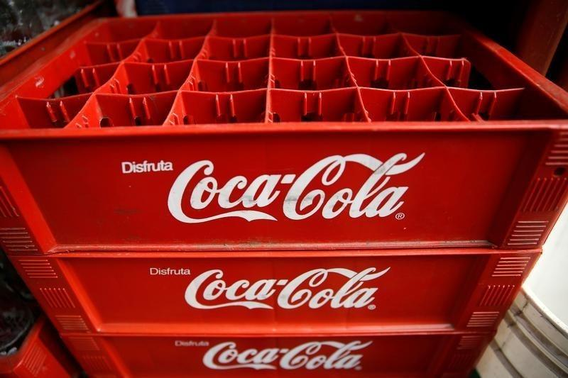 Empty Coca-Cola cases are seen at a food stall on the street in Caracas