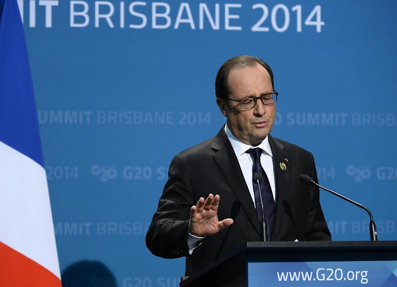 France's President Francois Hollande speaks at a press conference on the final day of the G20 summit in Brisbane on November 16, 2014