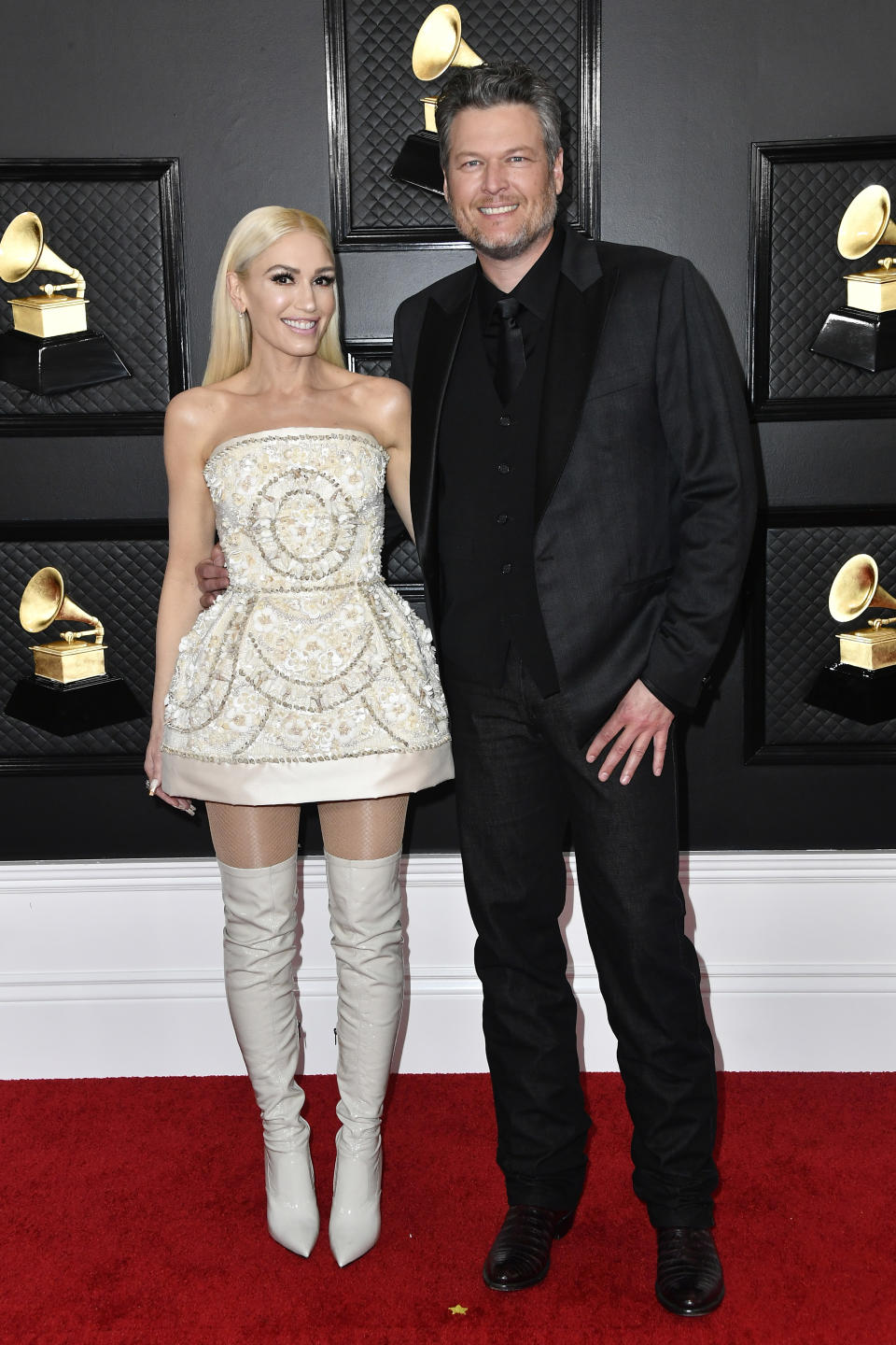 """The """"Just A Girl"""" singer arrived in a custom ensemble by Dolce & Gabbana alongside boyfriend Blake Shelton. Shelton earned his ninth Grammy nomination for Best Country Solo Performance, and took the stage with Stefani to perform their duet, """"Nobody But You."""""""
