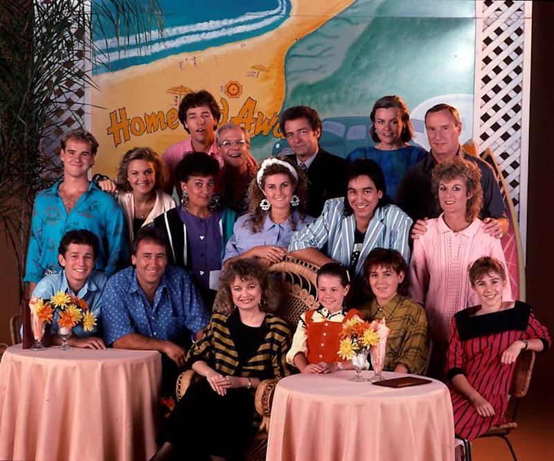 The cast of Home And Away's first ever episode in January 1988. Photo: Channel 7.