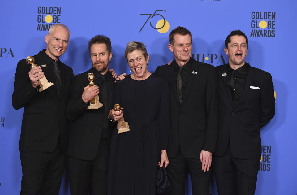 The cast and crew of Three Billboards Outside Ebbing, Missouri (Jordan Strauss/Invision/AP)