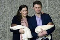 <p>January 2011: The brood doubled in size with the arrival of twins Vincent and Josephine. Photo: Getty Images.</p>