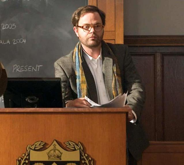 <p>At the height of his <i>Office</i> fame, Rainn Wilson appeared as a rock star-like Astronomy 101 professor who openly flirts with the comely co-eds in his class and loftily compares himself to Albert Einstein. This is the guy Dwight Schrute <i>wishes</i> he could be. (Photo: Paramount)<br></p>