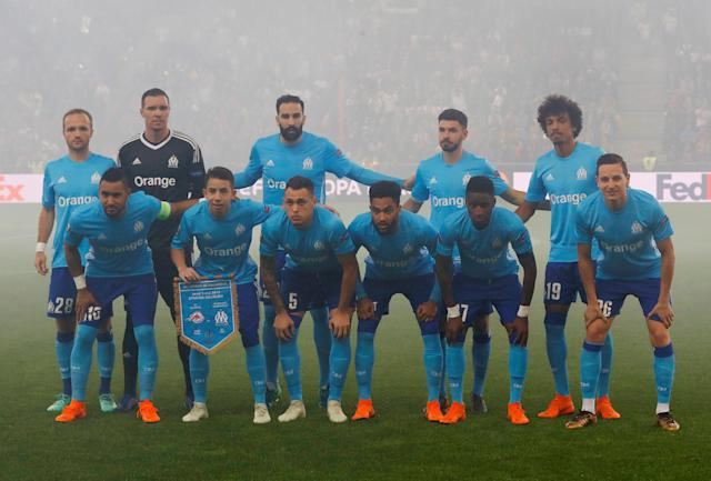 Soccer Football - Europa League Semi Final Second Leg - RB Salzburg v Olympique de Marseille - Red Bull Arena, Salzburg, Austria - May 3, 2018 Marseille players pose for a team group photo before the match REUTERS/Leonhard Foeger