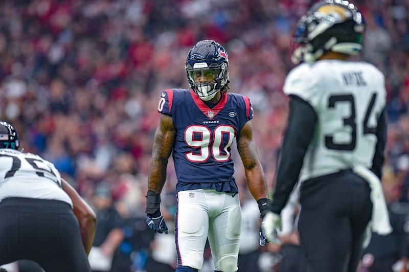 HOUSTON, TX - DECEMBER 30: Houston Texans outside linebacker Jadeveon Clowney (90) gets ready for a play during the football game between the Jacksonville Jaguars and Houston Texans on December 30, 2018 at NRG Stadium in Houston, Texas. (Photo by Daniel Dunn/Icon Sportswire via Getty Images)