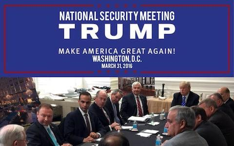 An Instagram post by Donald Trump showing a meeting with his security team, including George Papadopoulos (third left) - Credit: realdonaldtrump/Instagram
