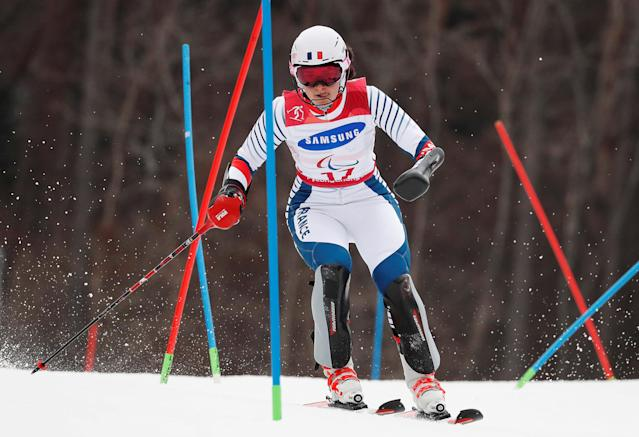 Alpine Skiing - Pyeongchang 2018 Winter Paralympics - Women's Slalom - Standing - Run 1 - Jeongseon Alpine Centre - Jeongseon, South Korea - March 18, 2018 - Marie Bochet of France. REUTERS/Paul Hanna TPX IMAGES OF THE DAY
