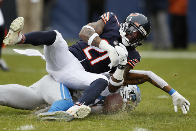 Chicago Bears strong safety Ha Ha Clinton-Dix (21) hits Detroit Lions wide receiver Kenny Golladay (19), forcing an incomplete pass, during the first half of an NFL football game in Chicago, Sunday, Nov. 10, 2019. (AP Photo/Charlie Neibergall)