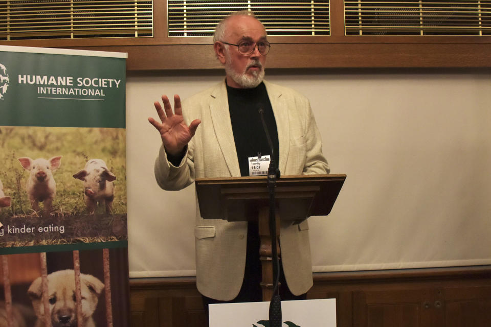 IMAGE DISTRIBUTED FOR HUMANE SOCIETY INTERNATIONAL - On the eve of South Korea's BokNal days when over 1 million dogs will be killed and eaten, celebrities help shine a spotlight on the cruelty at a photo exhibition hosted by animal charity Humane Society International and MP for Crawley, Henry Smith, at Palace of Westminster, on Tuesday, July 11, 2017, in London. Downton Abbey's Peter Egan viewed a photo gallery depicting dogs HSI has saved from the slaughter, and watched iDog, HSI's new virtual reality campaign tool. HSI campaigns to end the dog meat trade across Asia. (Photo by Keith Sheriff/AP Images for Humane Society International)