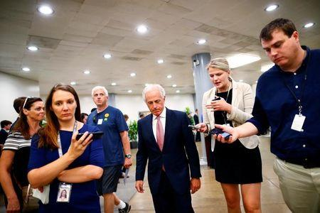 FILE PHOTO: Senator Bob Corker (R-TN) arrives on Capitol Hill in Washington, U.S. July 26, 2017. REUTERS/Eric Thayer