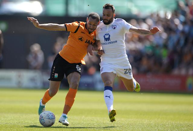 "Soccer Football - League Two - Barnet vs Chesterfield - The Hive, London, Britain - May 5, 2018 Barnet's Curtis Weston in action with Chesterfield's Robbie Weir Action Images/Adam Holt EDITORIAL USE ONLY. No use with unauthorized audio, video, data, fixture lists, club/league logos or ""live"" services. Online in-match use limited to 75 images, no video emulation. No use in betting, games or single club/league/player publications. Please contact your account representative for further details."