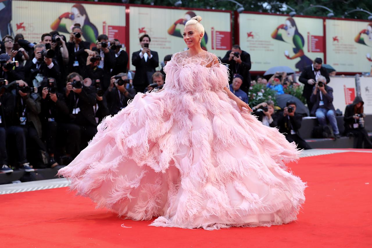 Gaga took the entire world's breath away when she showed up at the premiere of her film <em>A Star Is Born</em> at the 2018 Cannes Film Festival in a pink Valentino Haute Couture princess dress made of light-as-air feathers. The red carpet was hit with rain, but that didn't stop Gaga from having her moment.