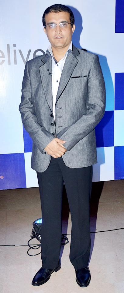 MUMBAI, INDIA - APRIL 30: Former Indian skipper Sourav Ganguly at FedEx Master of Deliveries event in Mumbai on Tuesday night. (Photo by Yogen Shah/India Today Group/Getty Images)
